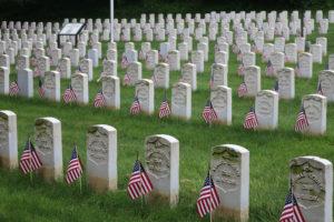 Flags at veteran gravesites