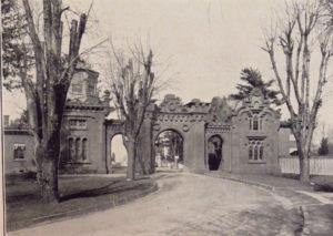 Faded sepia toned photo of entrance gates
