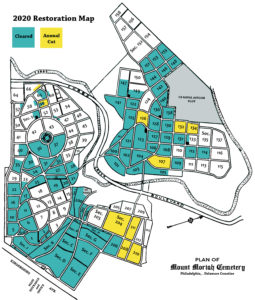 Color-coded 2020 restoration map of Mount Moriah Cemetery