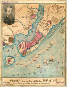 Map of the Union attack on Fort Fisher, North Carolina on January 15, 1865