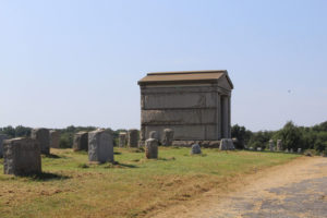 Mausoleum with headstones at Mount Moriah Cemetery