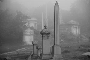 Mausoleum Hill at Mount Moriah Cemetery in Philadelphia, Pennsylvania