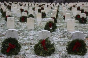 Wreaths in front of veteran headstones at Mount Moriah Cemetery