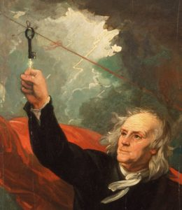 Benjamin Franklin using the Loxley house front door key for his lightning/electricity experiment
