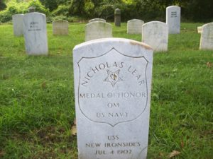 Nicholas Lear headstone at Mount Moriah Cemetery in Philadelphia, Pennsylvania