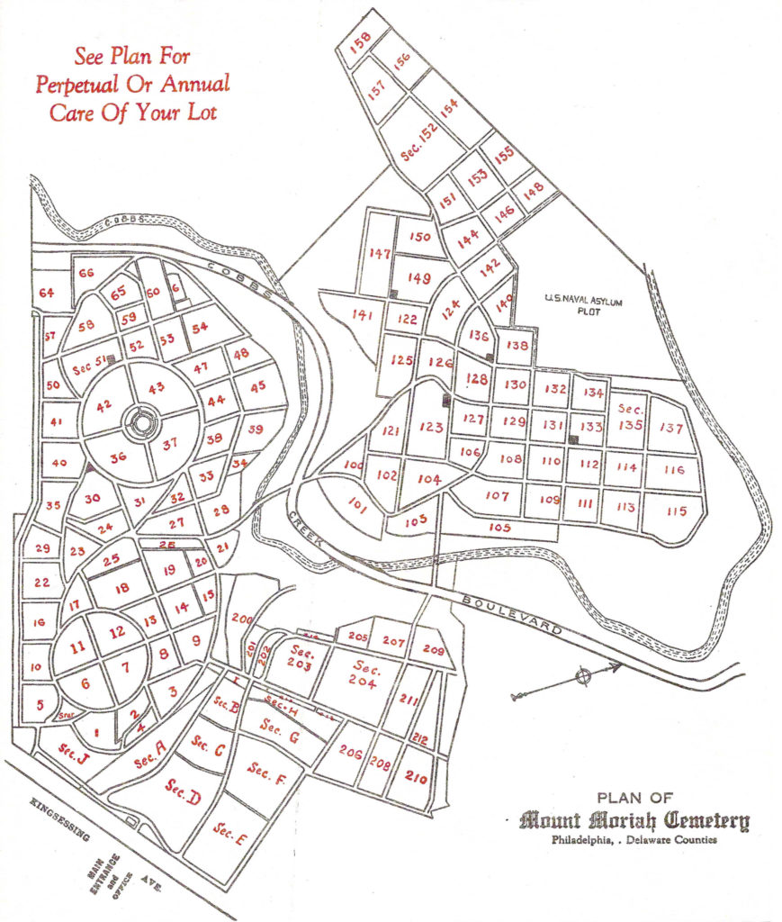 Map depicting plot locations at Mount Moriah Cemetery
