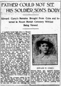 Newspaper clipping about Edward W. Curry's father