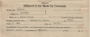 """Pension document for Chief Master-at-Arms William Henry Scholls reads """"Addidavit to be Made by Comrade"""""""