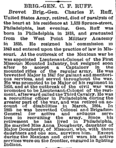 Obituary for Col. Charles Frederick Ruff