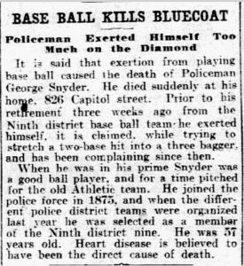 "Newspaper clipping reads ""Baseball kills bluecoat"""