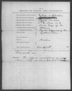 Private William Jasper Christian record of death and interment