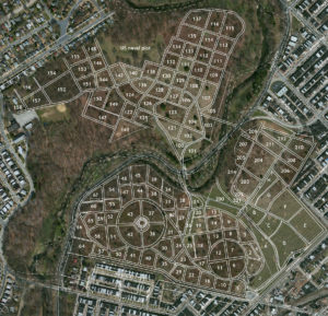 Aerial map of Mount Moriah Cemetery plot locations