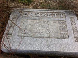 Lewis Dubois Bassett headstone at Mount Moriah Cemetery