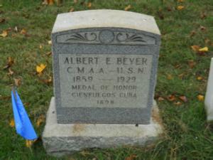 Albert E. Beyer headstone at Mount Moriah Cemetery in Philadelphia, Pennsylvania