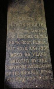 General Edwin R. Biles headstone at Mount Moriah Cemetery