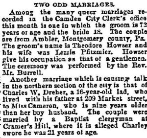 Newspaper clipping from the Philadelphia Inquirer about the marriage of Rev. William H. Burrel and his wife