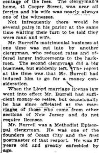Newspaper clipping from the Trenton Times about the marriage of Rev. William H. Burrel and his wife