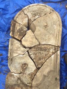 Pieces of James Ferguson's broken headstone