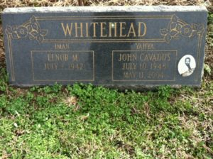 John Whitehead headstone at Mount Moriah Cemetery