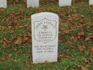 John Laverty headstone at Mount Moriah Cemetery in Philadelphia, Pennsylvania
