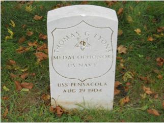 Thomas G. Lyons headstone at Mount Moriah Cemetery in Philadelphia, Pennsylvania