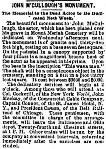 Newspaper clipping about John McCullough's death and memorial