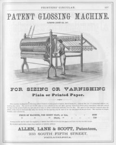Flyer for the Patent Glossing Machine for Sizing or Varnishing