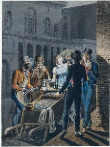 A painting of a group of people eating oysters in front of the Chestnut Street Theater