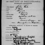 Cecilia Gale death certificate from Philadelphia, Pennsylvania