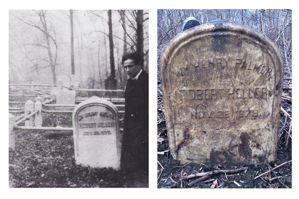 Left: Houdini visiting Robert Heller's plot in the early 1900s. Right: Heller's stone, recently uncovered, as it looks today.