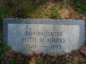 Lt. (J. G.) Ruth M. Jackson Marks headstone at Mount Moriah Cemetery
