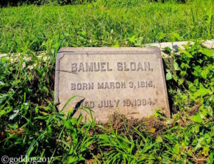 Samuel Sloan headstone at Mount Moriah Cemetery