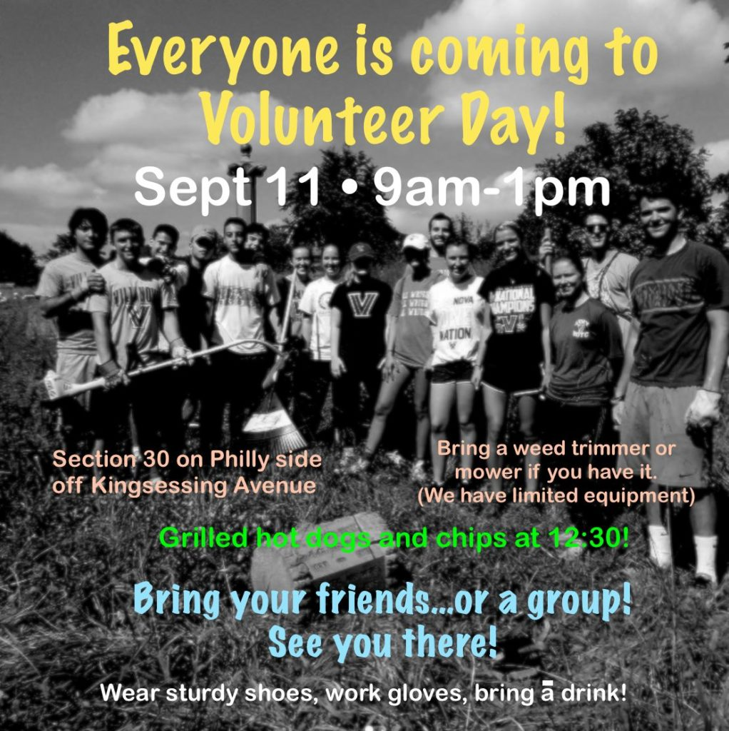 Clean-up event on Saturday, September 11 from 9 a.m. to 1 p.m.